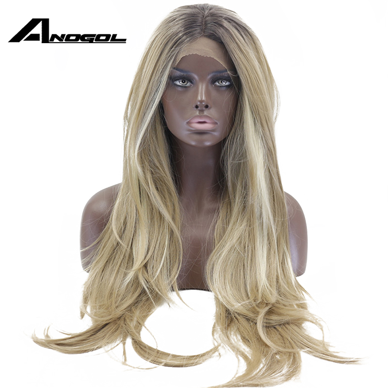 Anogol Long Brown Ombre Blonde Highlight High Temperature Fiber Natural Wave Synthetic Lace Front Wig For Women American African