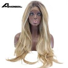 Anogol longo marrom ombre loira destaque fibra de alta temperatura onda natural peruca dianteira do laço sintético para feminino americano africano