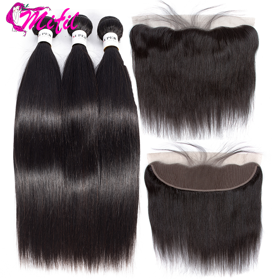 Mifil Indian Straight Bundles Ear To Ear Lace Frontal Closure With Bundles Non Remy Human Hair