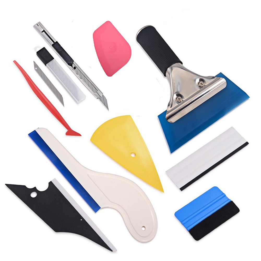 EHDIS 10pcs Motorcycle Car Sticker Accessories Vinyl Film Wrap Tool Set Carbon Fiber Protector Squeegee Knife Window Tinting