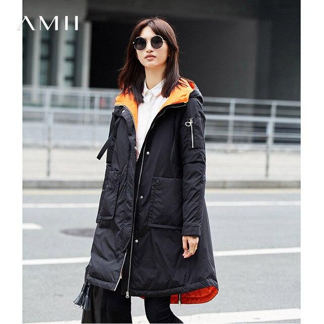 Amiiミニマ女性2017冬緩い90%ホワイトダックダウンコートパーカーポケット女性ファッションライトジャケットコート