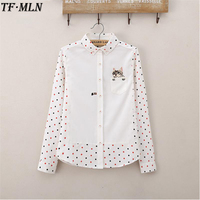 Animal Cat Embroidery Women Blouses Summer Ladies Casual Cotton Long Sleeve Dots Blouse Female White Shirt