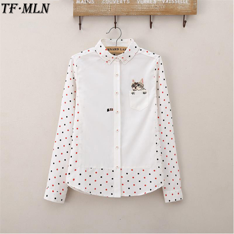 Animal Cat Embroidery Women Blouses Autumn Ladies Casual Cotton Long Sleeve Dots Blouse Female White Shirt