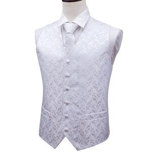Image 5 - Barry.Wang Mens Classic White Floral Jacquard Silk Waistcoat Vests Handkerchief Party Wedding Tie Vest Suit Pocket Square Set