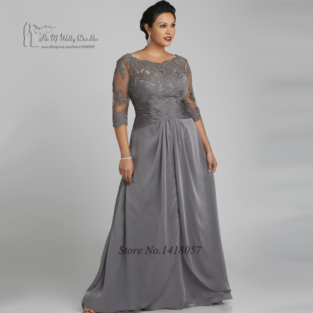 Plus size gray mother of the bride dresses for weddings for Grey dress wedding guest
