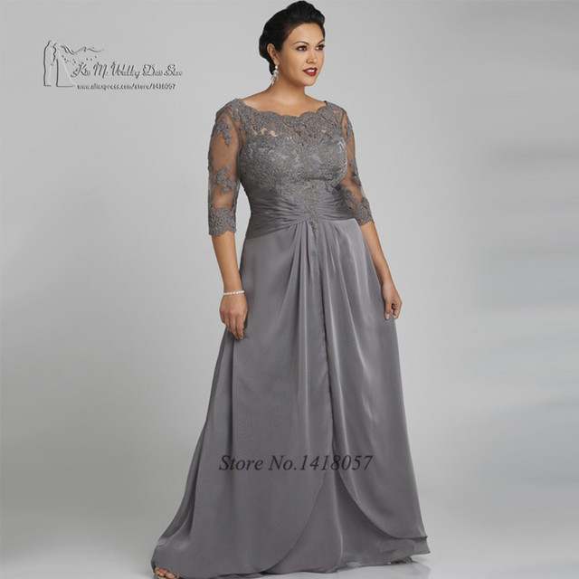 Plus Size Gray Mother of the Bride Dresses for Weddings Custom ...