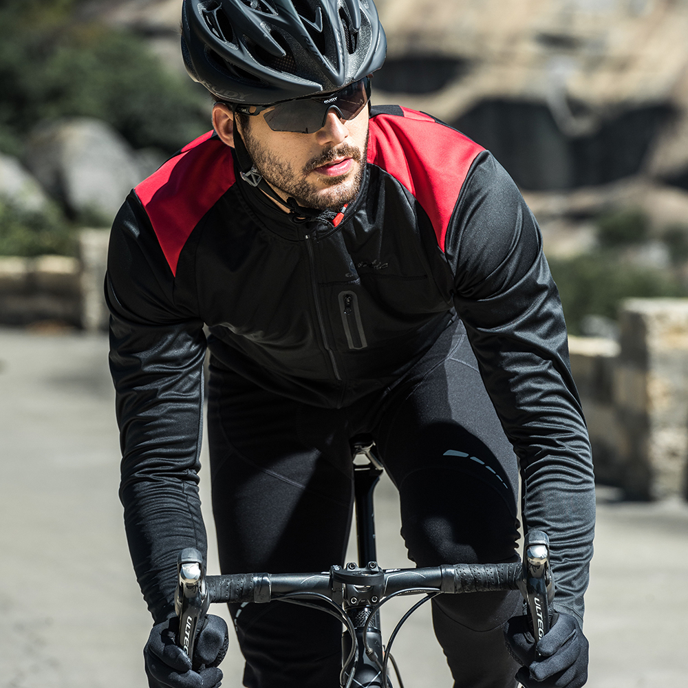 Santic Mens Cycling Jackets Windproof Breathable Coat Keep Warm Black Spring Autumn Winter Cycling Clothings KC6104R