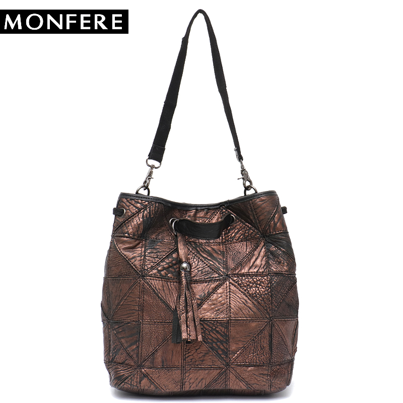 MONFERE New Vintage Genuine Leather Bucket Bag Brand Real Leather Tassel Patchwork Tote Shoulder Bags Female Cross body Handbags цена