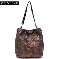 MONFERE New Vintage Genuine Leather Bucket Bag Brand Real Leather Tassel Patchwork Tote Shoulder Bags Female Cross body Handbags
