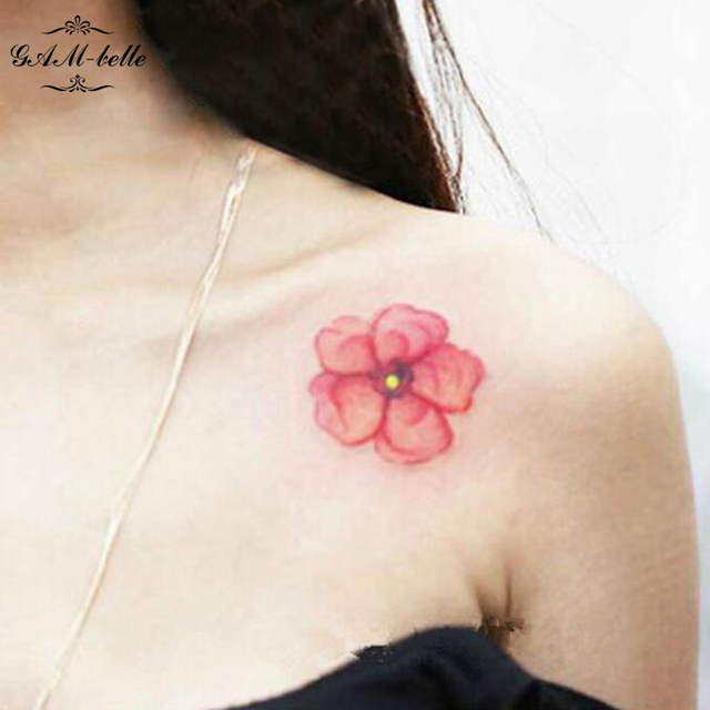 Original Antigua Flor De Durazno Flor De Cerezo Tatuaje Impermeable