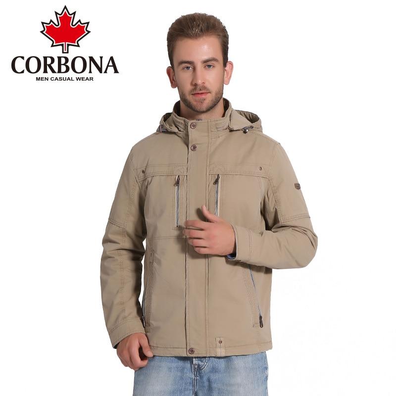 CORBONA Marque Hommes de Veste De Mode Casual Vestes Manteau D'hiver Chaud Coton Outwear Solide Mince Mâle Veste Manteau