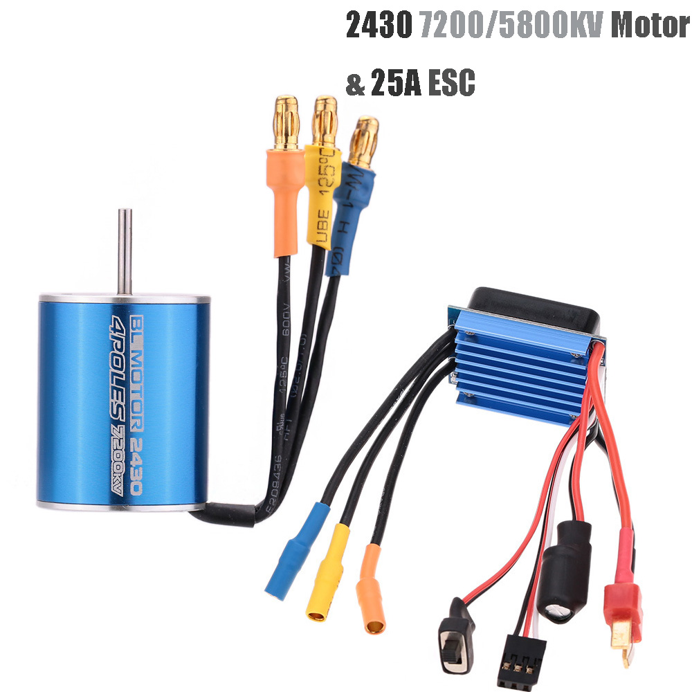 2430 5800KV 7200KV 4P Sensorless Brushless Motor & 25A Brushless ESC Electric Speed Controller For 1/16 1/18 RC Car Truck SUV