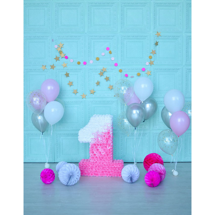 Happy one year birthday party balloons blue wallpaper