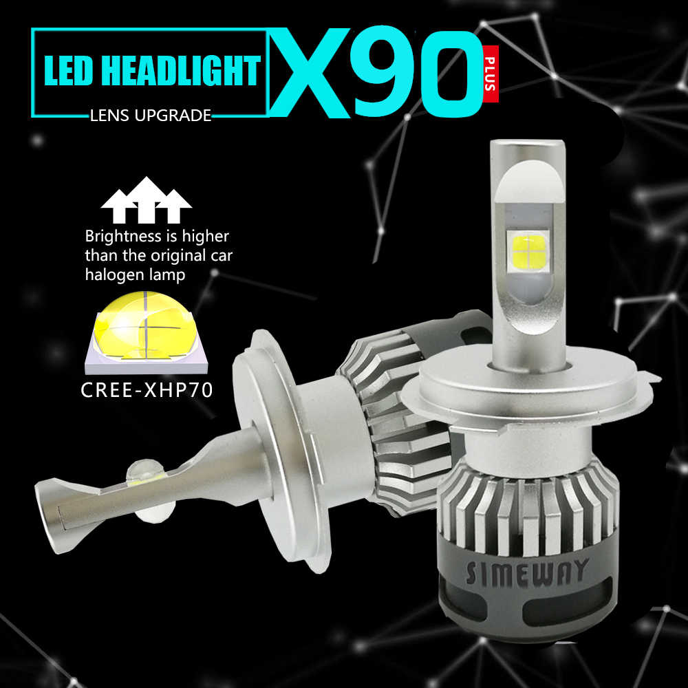 2PCS H4 hi/lo Led H8 H9 H11 HB3 hb4 Fog Lamp Car Headlight Bulbs xhp70 chip led H1 100W H7 D1S D2S 9004 9007 Auto bulb 12V 6000K