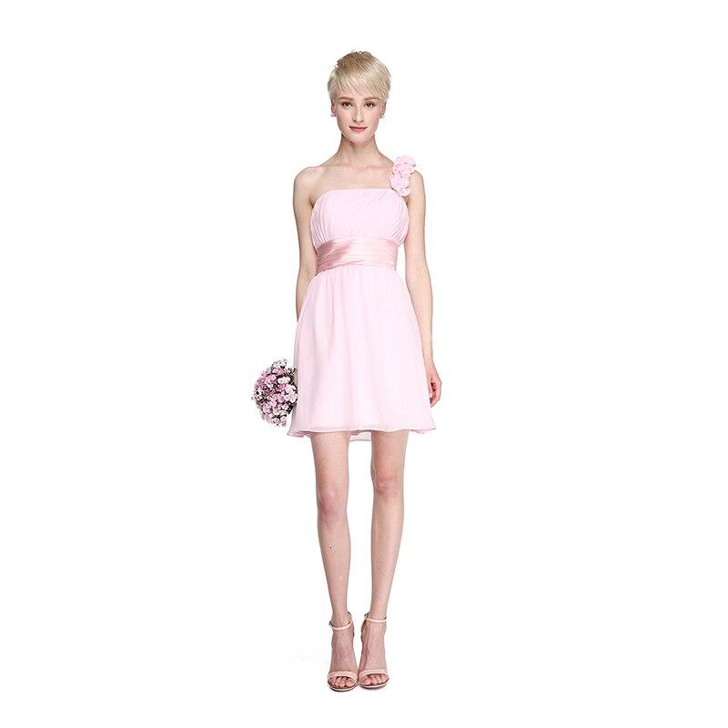 LAN Ting невесты Онлайн одно плечо Короткие/шифоновое мини платье подружки невесты с драпировкой пояс кушак/лента цветок плетения