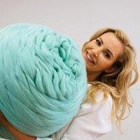 500g Pedaços De Fios De Lã Merino Fios de Fios de Malha Agulhas De Tricô DIY Super Grosso Braço Lance Cobertor Laine Crochê Chapéu cachecol