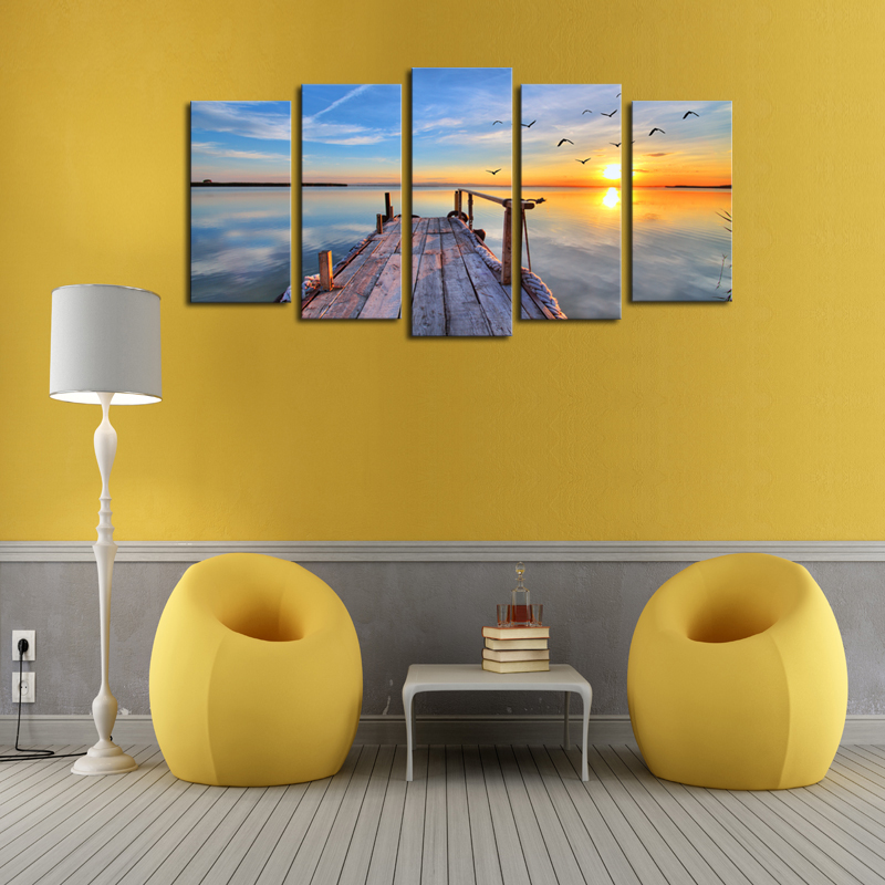 Unframed 5 Panels Sunset Seascape Scenery Picture Print Painting ...