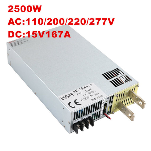 2500W 15V Power Supply 0-15V Adjustable Power Supply AC-DC 0-5V Analog Signal Control SE-2500-15 Power Transformer 15V 166A