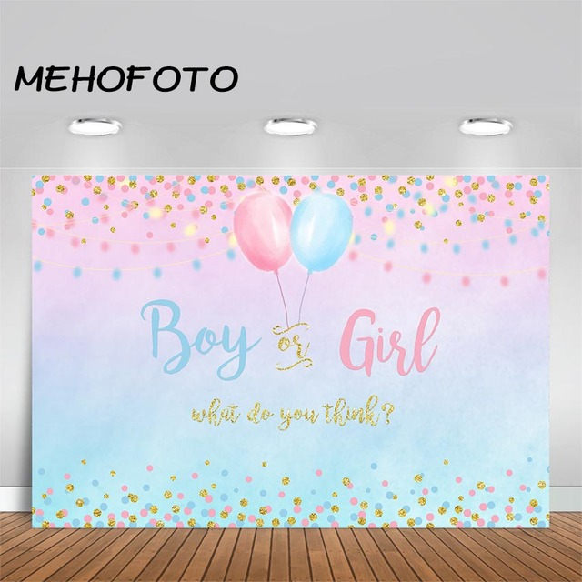 Boy or Girl Party Backdrop Blue Pink Dots Gender Reveal Photo Background Glitter Balloon Baby Party Banner Photography Backdrops