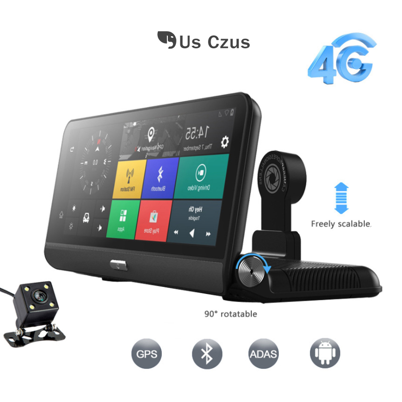 8in écran Tactile dash cam Android Quad Core CPU 3g/4g voiture DVR WIFI Bluetooth GPS Navigation double lentille ADAS arrière vue greffier