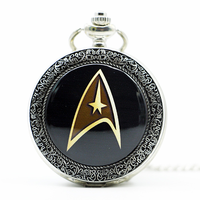 Neue Ankunft Star Trek Thema Steampunk Vintage Quarz Taschenuhr Einzigartige Mode Männer Uhren Halskette Kette Reogios Pb613