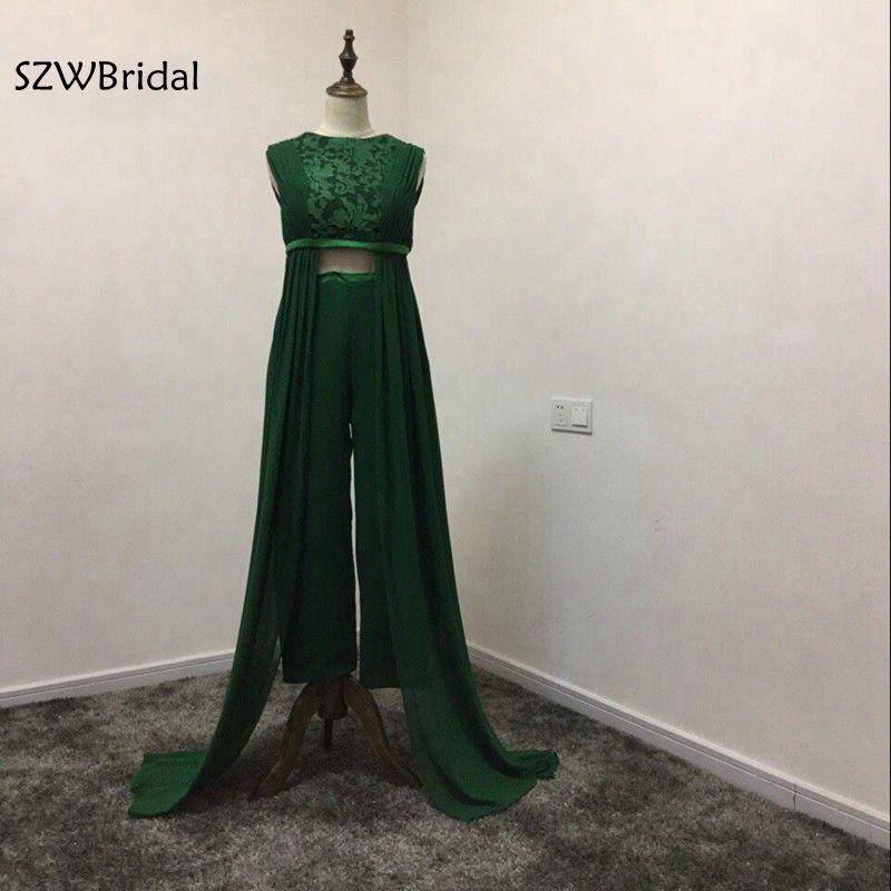 Новое поступление шифон зеленый вечернее платье из двух частей Саудовская Аравия Кафтан Вечернее платье Вечеринка 2018 vestido de festa