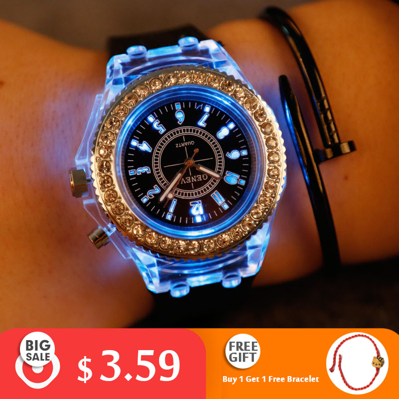 Luminous Women Men Watches Quartz Led Flash Personality Fashion Diamond-studded Jelly Gift Students Couple Creative Best Sell