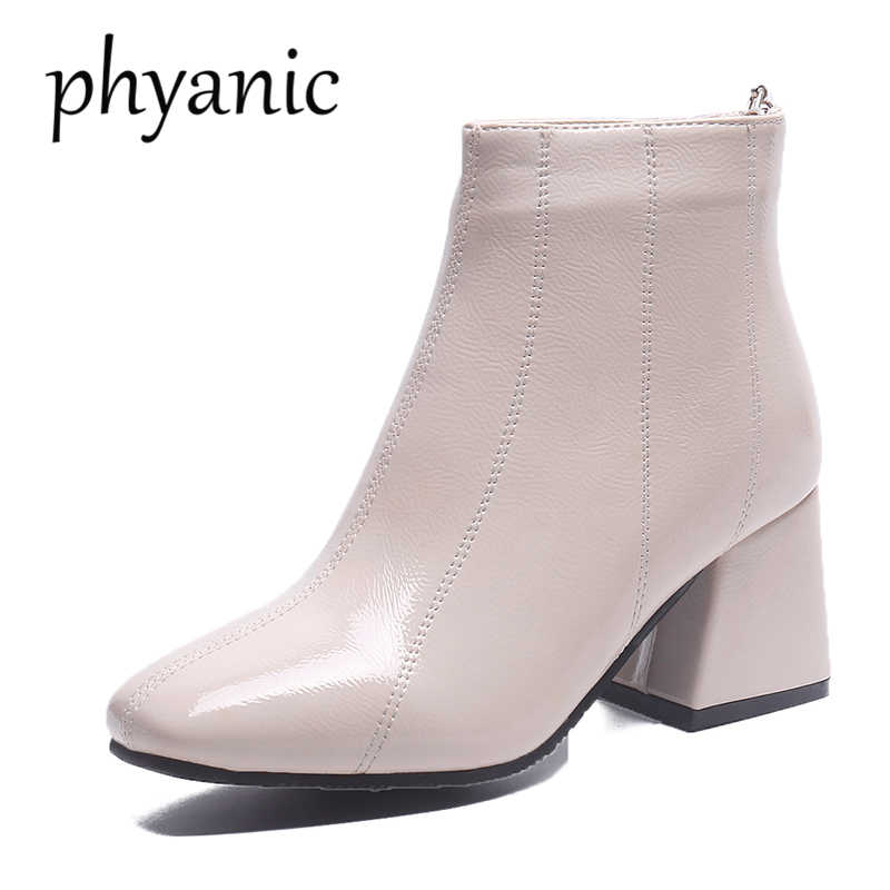 Phyanic 2018 Korea style Fashion women boots Autumn Pointed Toe Square High  Heels Patent Leather woman 32f4b49060bc