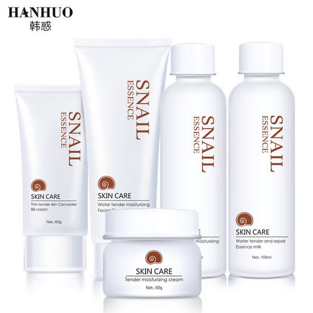 Hanhuo 5pcs/Kit Snail Repair Essence Skin Care Set Hyaluronic Acid Facial Cleanser BB Whitening Moisturizing галстуки