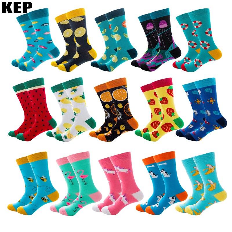 Funny Colorful Cartoon Cotton Men Socks New Brand Harajuku Trend Street Happy Socks Christmas Gift Street Hip Hop Business Style