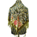 Sale Green Women's Triangle Velvet Silk Beaded Embroidery Shawl Scarf Wrap Scarves Peafowl Free Shipping 165 x 76 x 76 cm