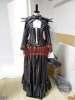 Кошмар перед Рождеством Джек Косплей Костюм наряд платье в черную полоску средневековой платье