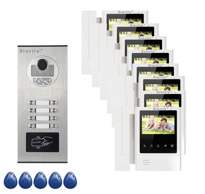 XINSILU Top Quality Security Intercom System Doorphone For 8-apartments in 1 Floor 4.3Video Door Phone Monitors ID card Unlock