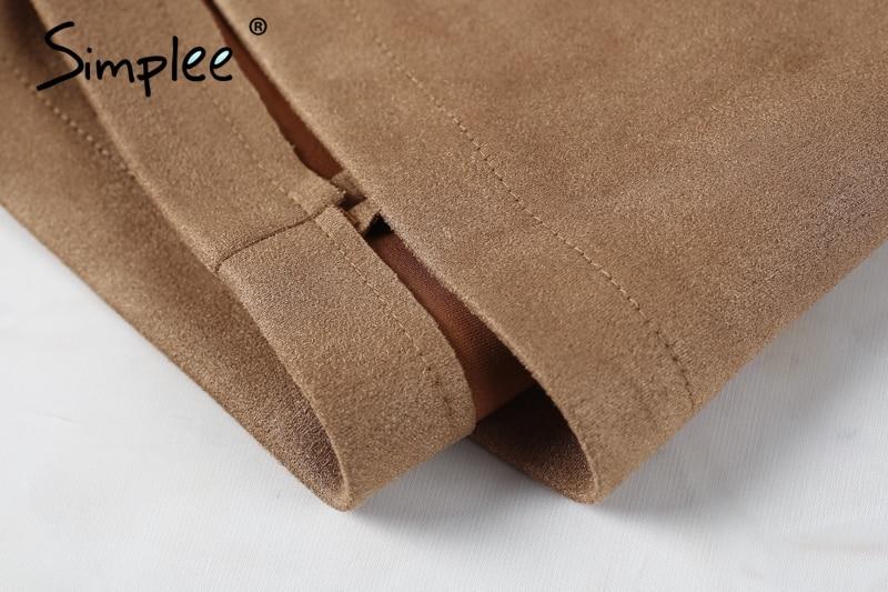 Simplee Autumn vintage leather suede pencil skirt winter 18 Cross high waist skirt Zipper split bodycon short skirts women 12