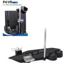 5 en 1 Multi-Fonctionnelle De Base de Stockage Titulaire de Vertical Stand pour PS4 Slim PS4 Pro + Station De Recharge pour PS Déplacer PS4 Contrôleur