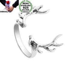 OMHXZJ Wholesale European Fashion Woman Man Party Wedding Gift Silver Elk Head Open 925 Sterling Silver Ring RR281(China)