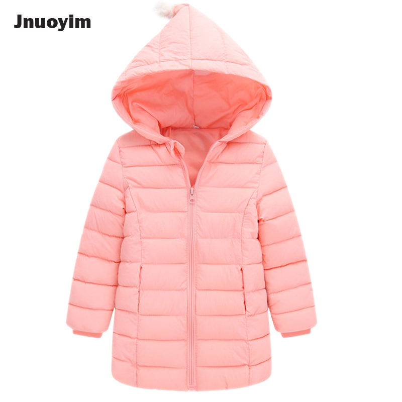 Fashion Children Coat Winter New Solid Color Cotton Padded Hooded Kids Jacket Outwear Girls Clothes Long Style Coats Parkas new wadded winter jacket women cotton short coat fashion 2017 girls padded slim plus size hooded parkas stand collar coat cm1604