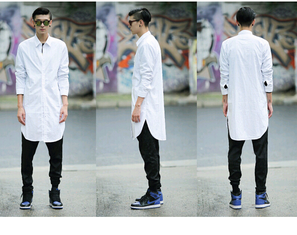 Camisa Social Casual Hip Hop Long Shirt Men Fashion Dress Shirt ...