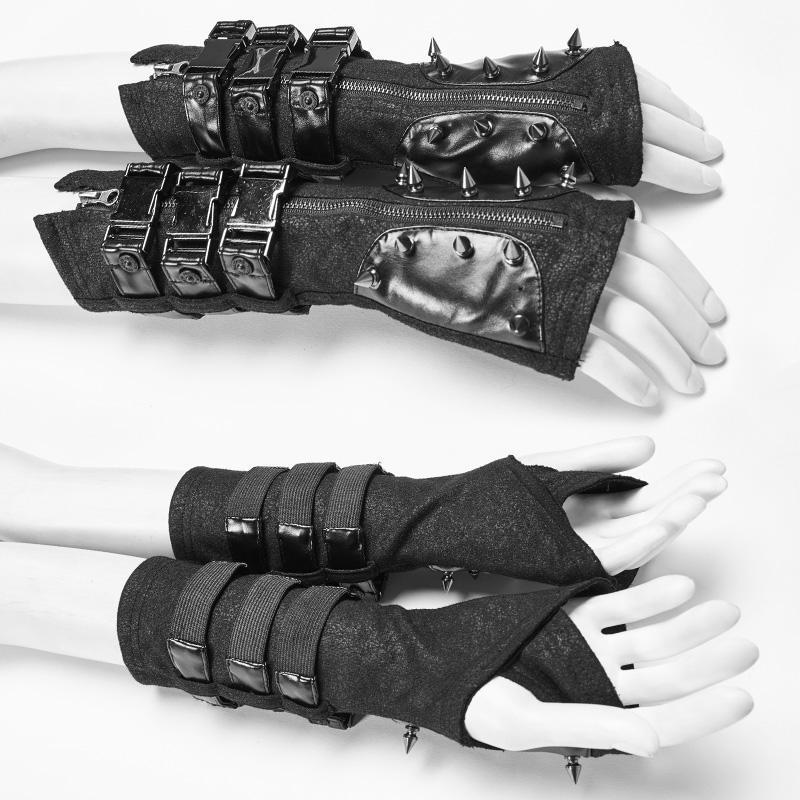Punk Rave femmes Goth boucle Rivet noir gants WS278SSF - 1