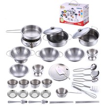 32pcs/set Educational toy model simulation kitchen utensils toys stainless steel quality material Christmas gift Free shipping
