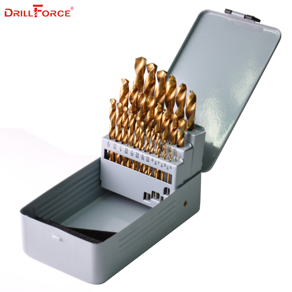 Drillforce 29PCS 1/16-1/2 HSS Twist Titanium Coated Hand Drill Bit Wood Woodworking Tools Set for Metal Drilling Round Shank 13pcs set hss high speed steel twist drill bit for metal titanium coated drill 1 4 hex shank 1 5 6 5mm power tools accessories