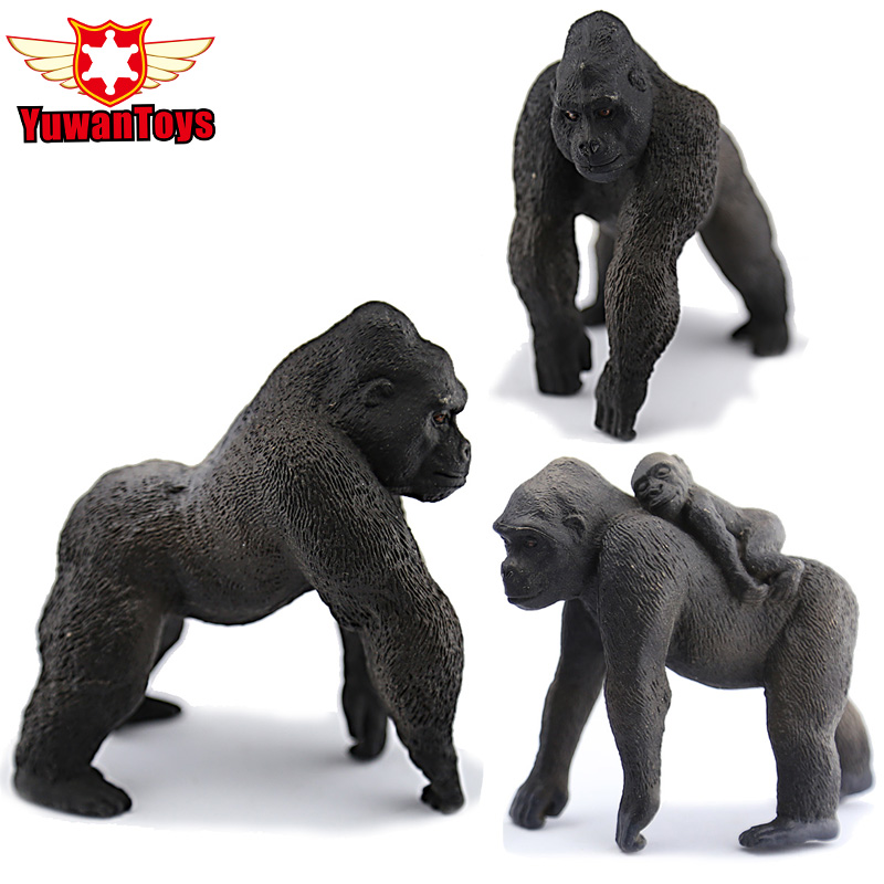 Middle Silverback Gorilla Simulation Model Animals Kids Toys Children Educational Props PVC Collectible Toys Christmas Gifts