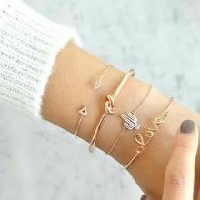 4Pcs/Set Gold Bohemian Bracelets Set For Women Fashion Jewelry Lotus Chain Love Triangle Bracelet Pulseras Mujer Jewellery