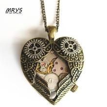 steampunk punk bronze heart mechanical watch movements gear necklace pendant chain men women boy girl vintage jewelry party gift