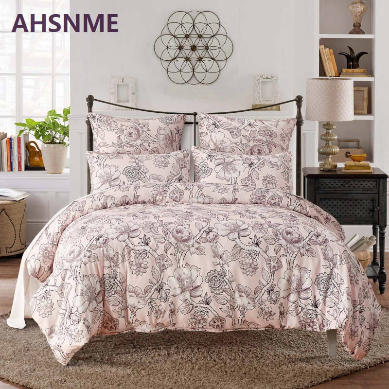 AHSNME 3PCS Bedding package very soft and comfortable Fabric Quilt Cover bedding and pale pink flower vine American and EU Size