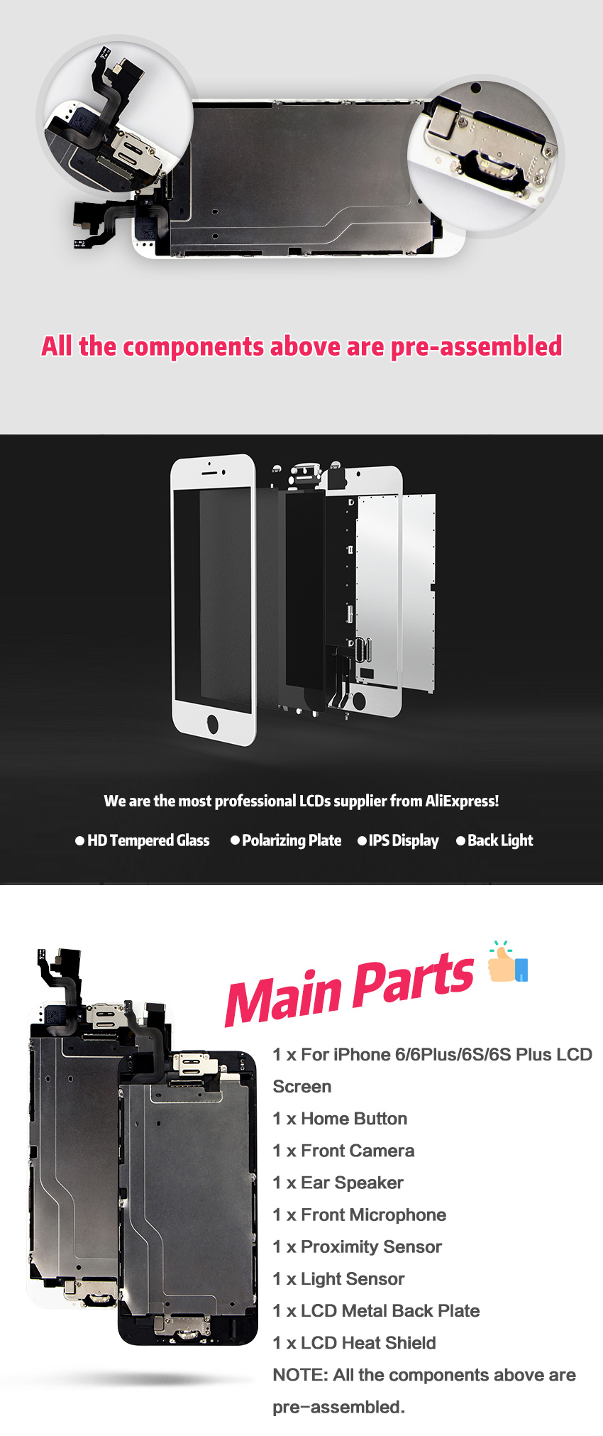 HTB1jeDsXJfvK1RjSszhq6AcGFXaf AAA+++ For iPhone 6 6S Plus LCD Full Assembly Complete 100% With 3D Force Touch For iPhone 5S 6Plus Screen Replacement Display