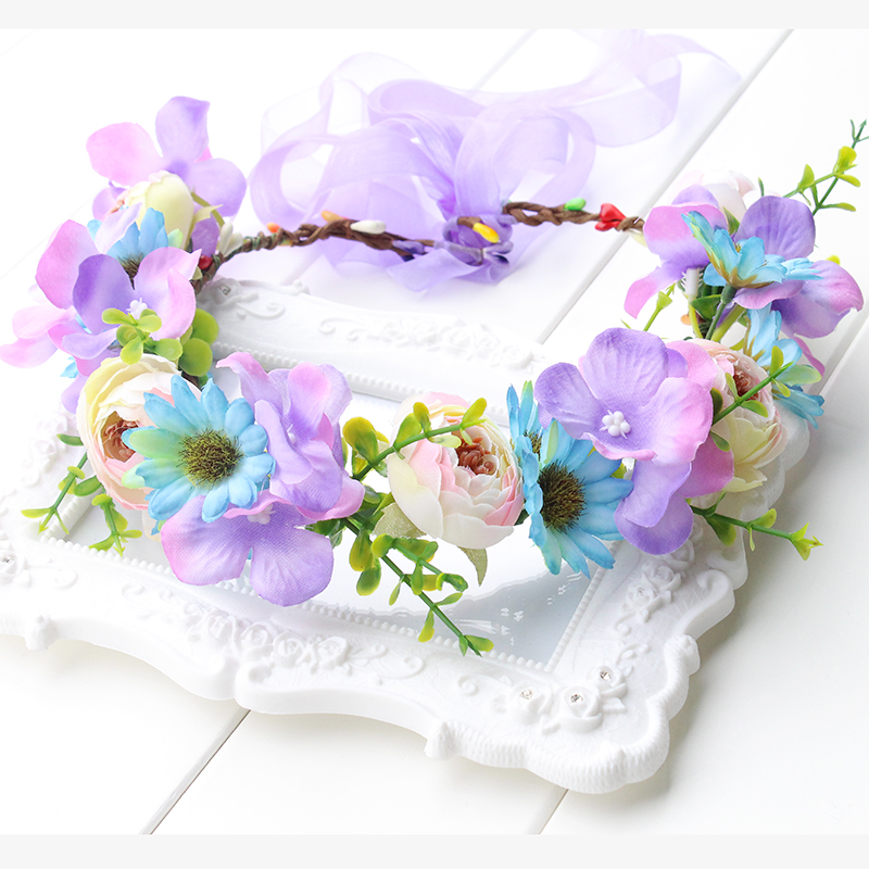 Rustic purple pink blue flower crown headband lavender flower hair rustic purple pink blue flower crown headband lavender flower hair wreath purple floral halo wedding bridal festival wreath in hair accessories from womens mightylinksfo