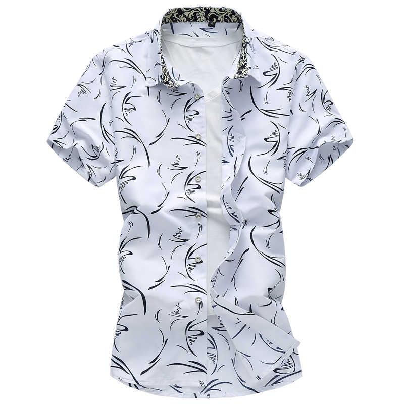 M-7XL 2019 夏男性のカジュアル大サイズトレスーツシャツ、ハイエンドブランド品質の男性の半袖シャツ白、紺