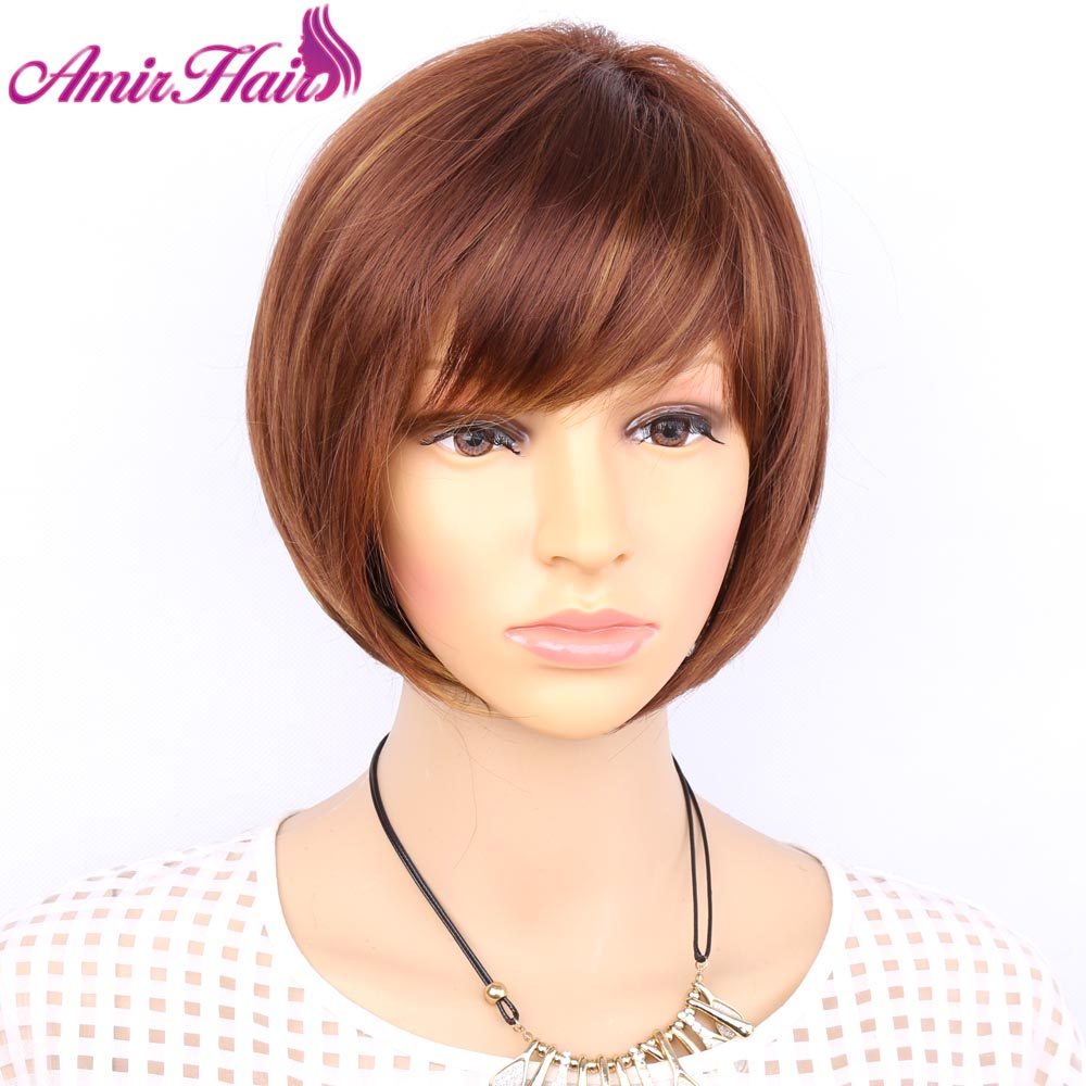 Aimr Natural Wigs Straight Synthetic Hair Wig Cosplay Short Heat Resistant Bob Blonde Brown  Mixed Color Ombre Pelucas Hairpiece