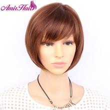 Aimr naturalne peruki proste włosy syntetyczne peruka Cosplay krótkie żaroodporne Bob blond brązowy mieszane kolor Ombre Pelucas Hairpiece